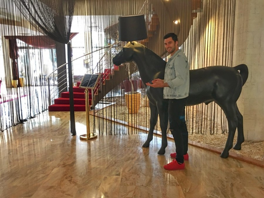 Moooi horse lamp in the Hotel Melia Coral Umag lobby